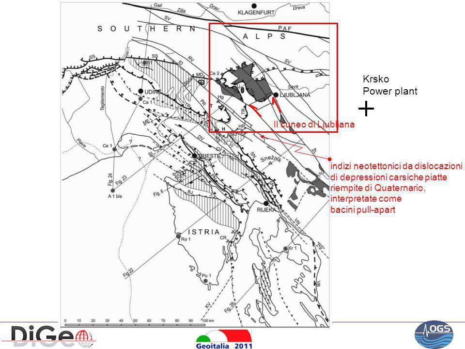 Krsko Power plant Il cuneo di Ljubljana indizi neotettonici da dislocazioni di depressioni carsiche piatte riempite di Quaternario, interpretate come