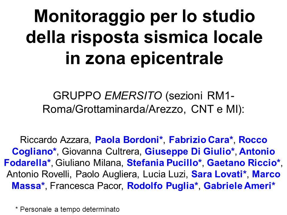 Monitoraggio per lo studio della risposta sismica locale in zona epicentrale GRUPPO EMERSITO (sezioni RM1- Roma/Grottaminarda/Arezzo, CNT e MI): Ricca