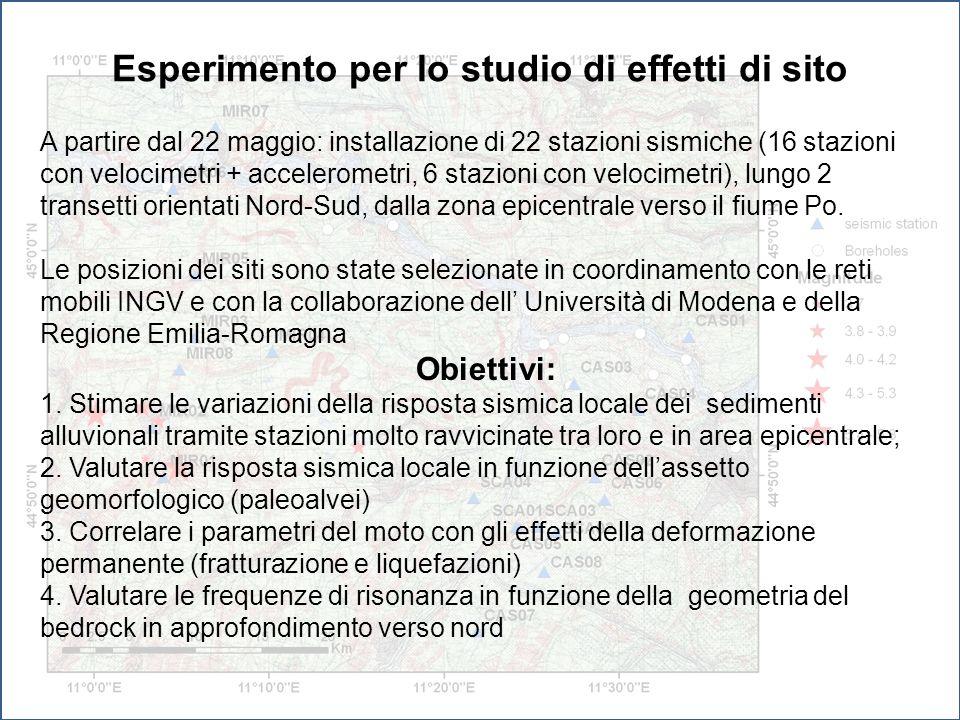 Esperimento per lo studio di effetti di sito A partire dal 22 maggio: installazione di 22 stazioni sismiche (16 stazioni con velocimetri + acceleromet