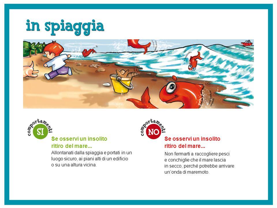 Se osservi un insolito ritiro del mare... Non fermarti a raccogliere pesci e conchiglie che il mare lascia in secco, perché potrebbe arrivare unonda d