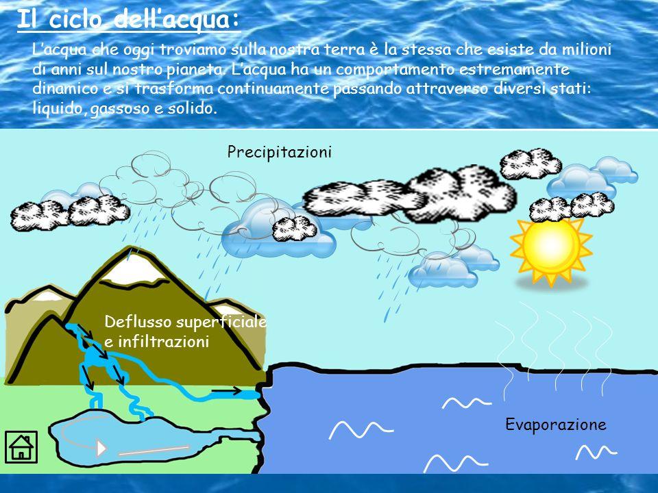 Il ciclo dellacqua: Lacqua che oggi troviamo sulla nostra terra è la stessa che esiste da milioni di anni sul nostro pianeta. Lacqua ha un comportamen