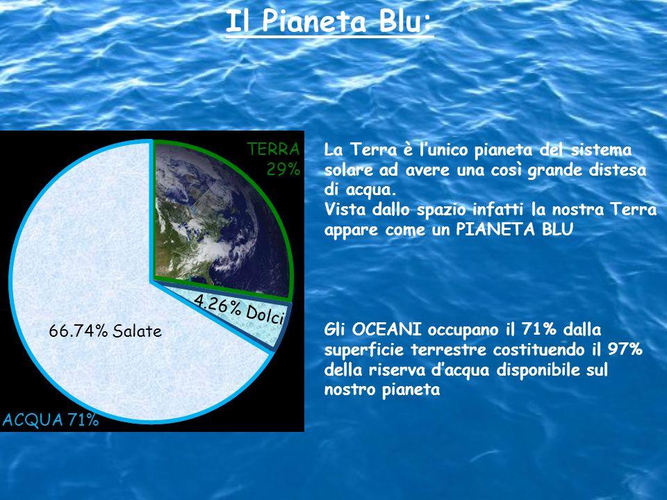 Il Pianeta Blu: ACQUA 71% TERRA 29% 4.26% Dolci 66.74% Salate La Terra è lunico pianeta del sistema solare ad avere una così grande distesa di acqua.