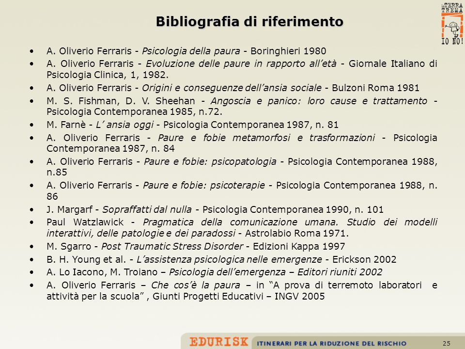25 Bibliografia di riferimento A. Oliverio Ferraris - Psicologia della paura - Boringhieri 1980 A. Oliverio Ferraris - Evoluzione delle paure in rappo