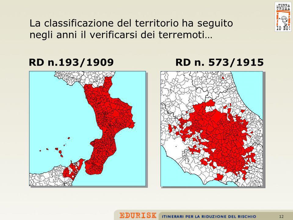 12 RD n.193/1909RD n. 573/1915 La classificazione del territorio ha seguito negli anni il verificarsi dei terremoti…
