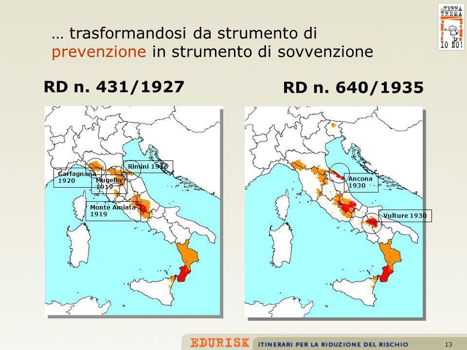 13 RD n. 431/1927 RD n. 640/1935 Garfagnana 1920 Mugello 1919 Rimini 1916 Monte Amiata 1919 Ancona 1930 Vulture 1930 … trasformandosi da strumento di