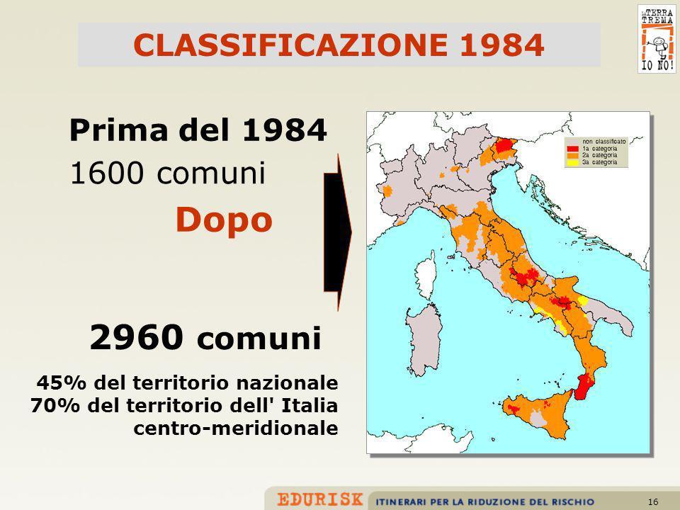 16 Prima del 1984 1600 comuni 2960 comuni Dopo CLASSIFICAZIONE 1984 45% del territorio nazionale 70% del territorio dell' Italia centro-meridionale