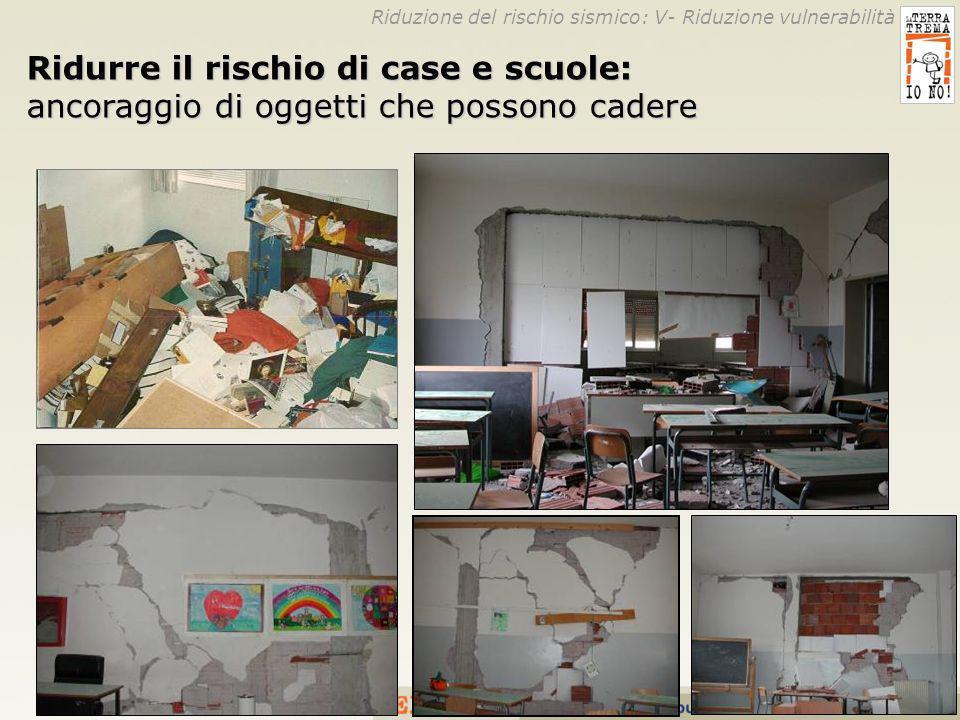 26 Ridurre il rischio di case e scuole: ancoraggio di oggetti che possono cadere Riduzione del rischio sismico: V- Riduzione vulnerabilità