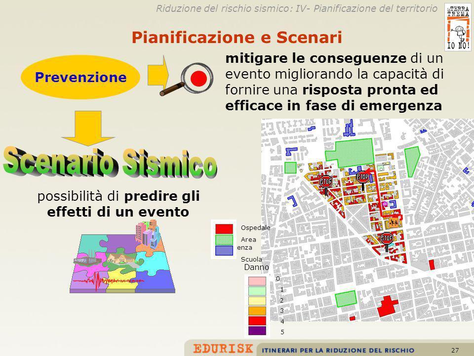27 Danno 0 1 2 3 4 5 Ospedale Area emergenza Scuola Riduzione del rischio sismico: IV- Pianificazione del territorio Prevenzione mitigare le conseguen