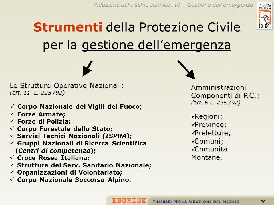 30 Strumenti della Protezione Civile per la gestione dellemergenza Le Strutture Operative Nazionali: (art. 11 L. 225 /92) Corpo Nazionale dei Vigili d