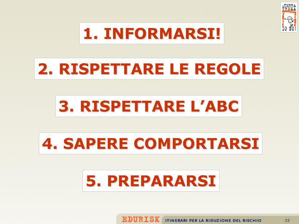 33 2. RISPETTARE LE REGOLE 1. INFORMARSI! 3. RISPETTARE LABC 4. SAPERE COMPORTARSI 5. PREPARARSI
