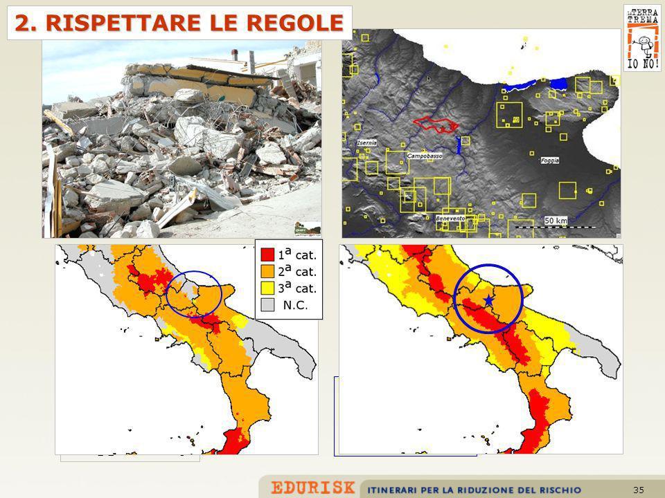 35 Classificazione sismica proposta nel 1998 Classificazione sismica 1984 (fino al maggio 2003) 2. RISPETTARE LE REGOLE