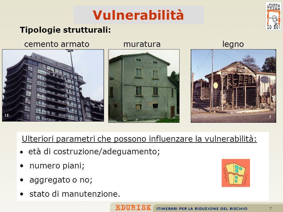 7 cemento armato muratura Tipologie strutturali: età di costruzione/adeguamento; numero piani; aggregato o no; stato di manutenzione. Ulteriori parame