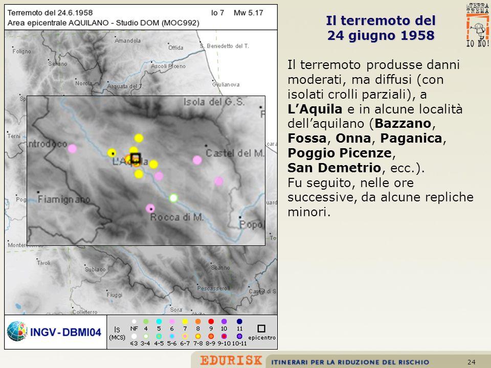 24 Il terremoto del 24 giugno 1958 Il terremoto produsse danni moderati, ma diffusi (con isolati crolli parziali), a LAquila e in alcune località dell