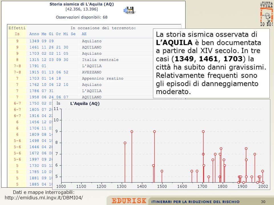 30 Dati e mappe interrogabili: http://emidius.mi.ingv.it/DBMI04/ La storia sismica osservata di LAQUILA è ben documentata a partire dal XIV secolo. In