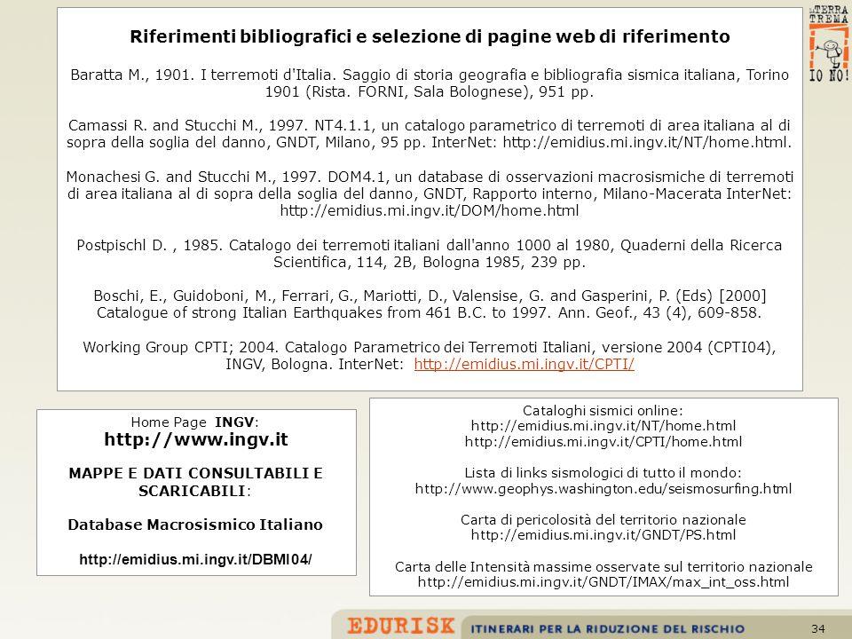 34 Riferimenti bibliografici e selezione di pagine web di riferimento Baratta M., 1901. I terremoti d'Italia. Saggio di storia geografia e bibliografi