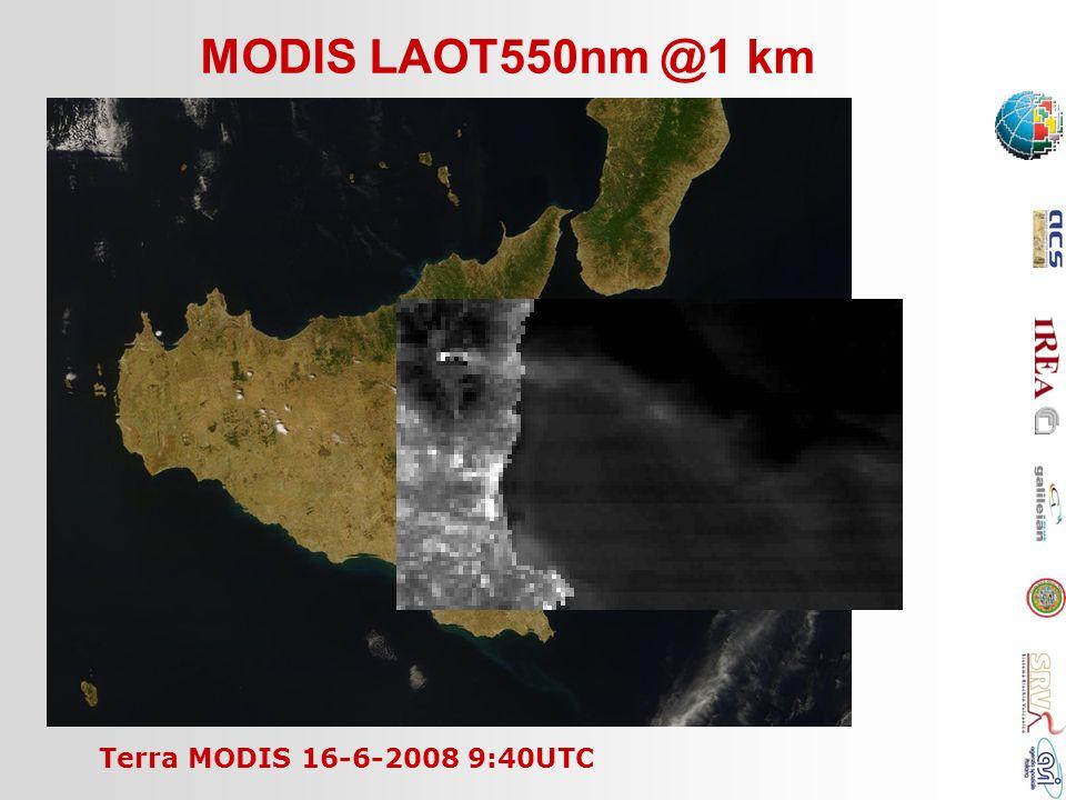 MODIS LAOT550nm @1 km Terra MODIS 16-6-2008 9:40UTC