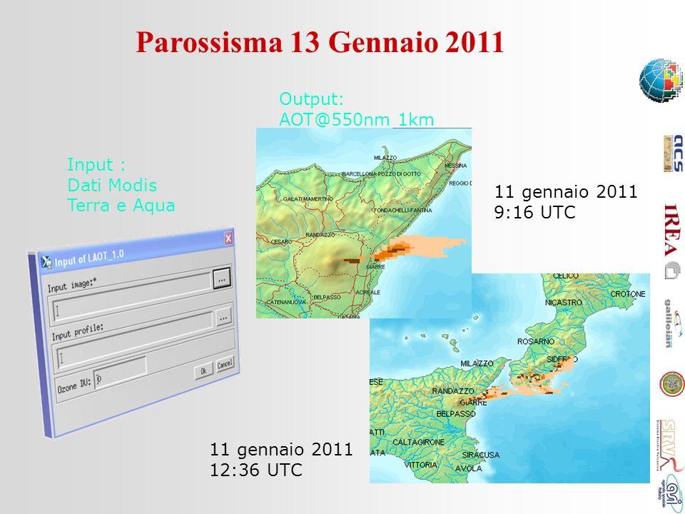 Parossisma 13 Gennaio 2011 11 gennaio 2011 9:16 UTC 11 gennaio 2011 12:36 UTC Input : Dati Modis Terra e Aqua Output: AOT@550nm 1km