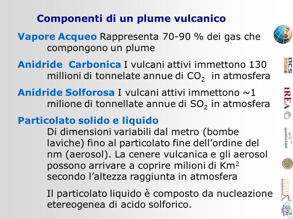Componenti di un plume vulcanico Vapore Acqueo Rappresenta 70-90 % dei gas che compongono un plume Anidride Carbonica I vulcani attivi immettono 130 m