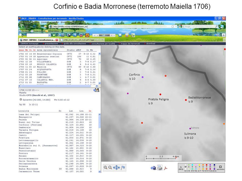 BadiaMorronese Is 9 Corfinio Is 10 Pratola Peligna Is 9 Sulmona Is 9-10 Corfinio e Badia Morronese (terremoto Maiella 1706)