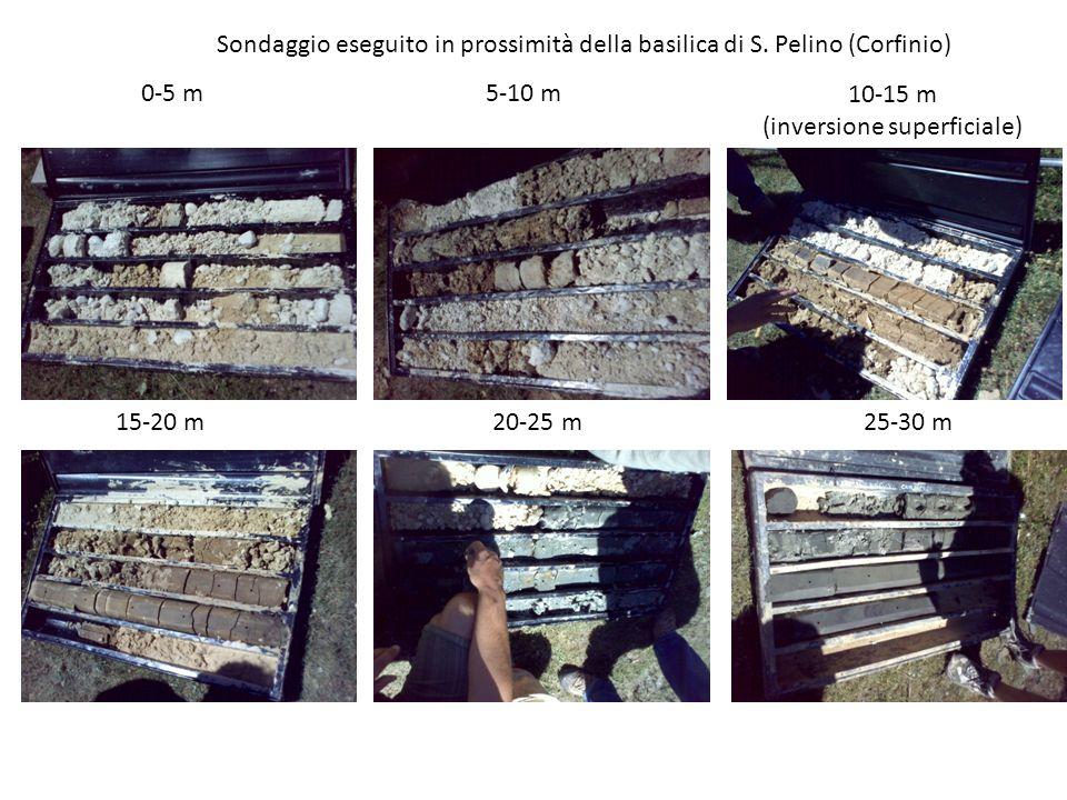 0-5 m5-10 m 10-15 m (inversione superficiale) 15-20 m 20-25 m 25-30 m Sondaggio eseguito in prossimità della basilica di S.