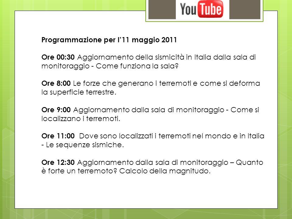 Programmazione per l11 maggio 2011 Ore 00:30 Aggiornamento della sismicità in Italia dalla sala di monitoraggio - Come funziona la sala? Ore 8:00 Le f