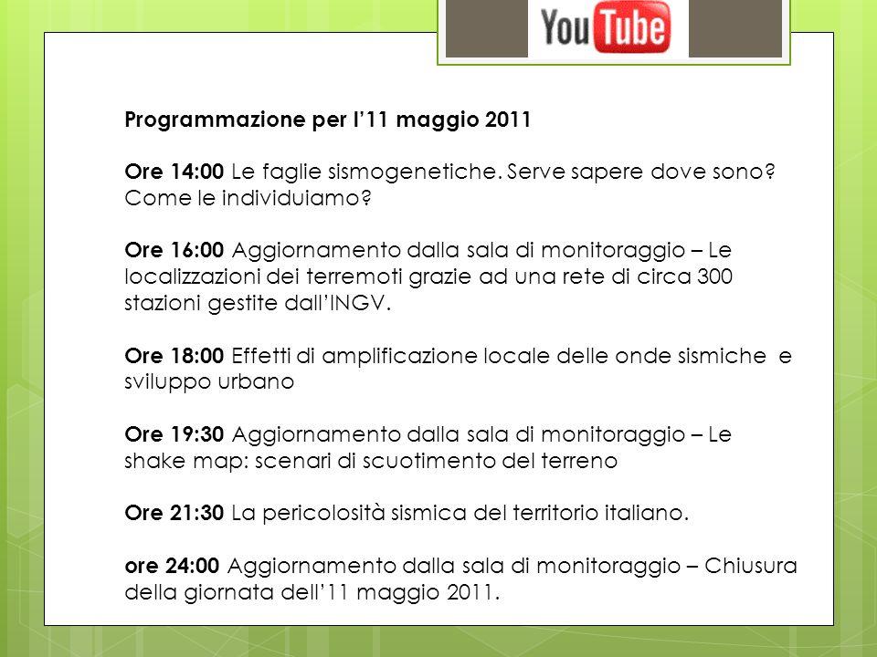 Programmazione per l11 maggio 2011 Ore 14:00 Le faglie sismogenetiche.