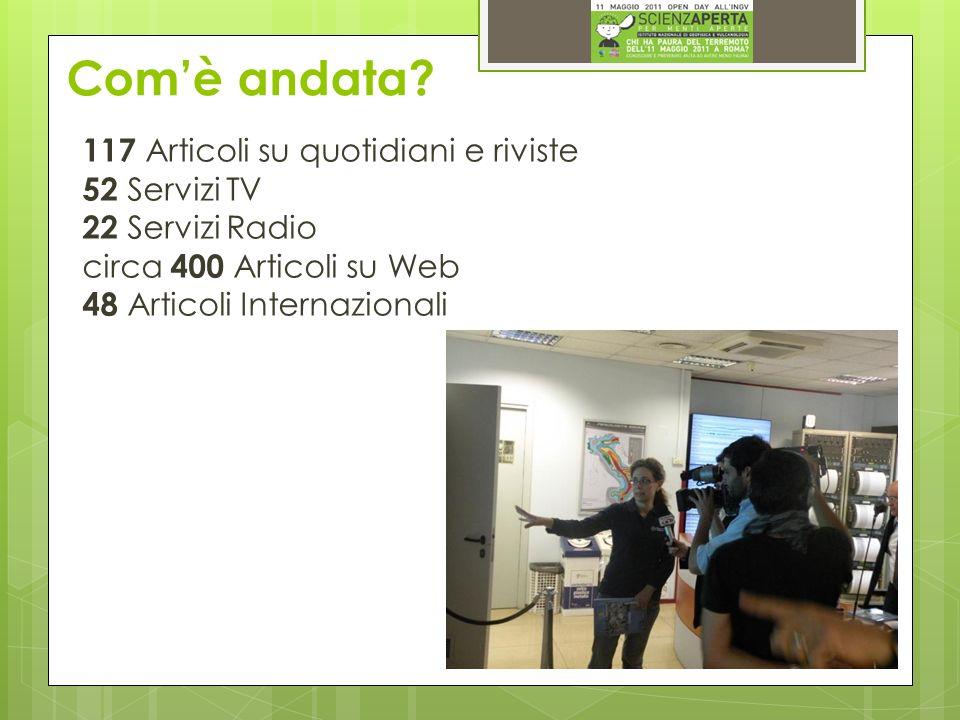 117 Articoli su quotidiani e riviste 52 Servizi TV 22 Servizi Radio circa 400 Articoli su Web 48 Articoli Internazionali
