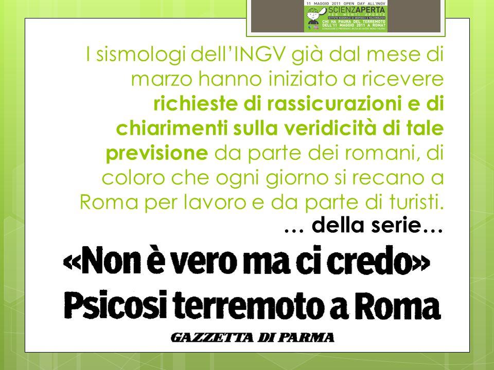 I sismologi dellINGV già dal mese di marzo hanno iniziato a ricevere richieste di rassicurazioni e di chiarimenti sulla veridicità di tale previsione da parte dei romani, di coloro che ogni giorno si recano a Roma per lavoro e da parte di turisti.