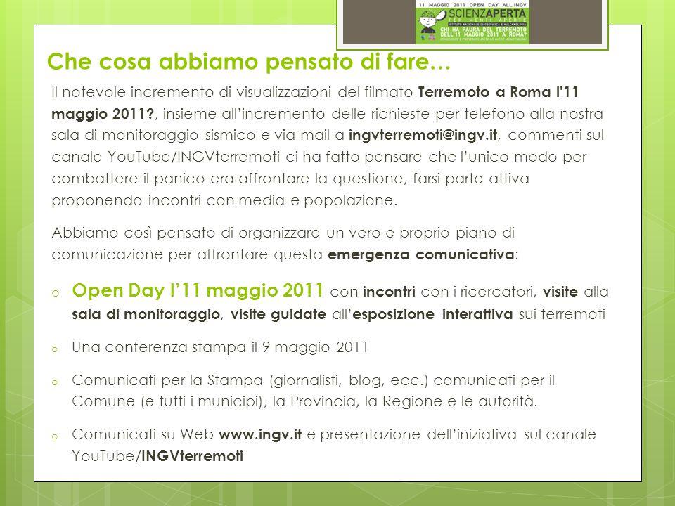 Che cosa abbiamo pensato di fare… Il notevole incremento di visualizzazioni del filmato Terremoto a Roma l'11 maggio 2011?, insieme allincremento dell