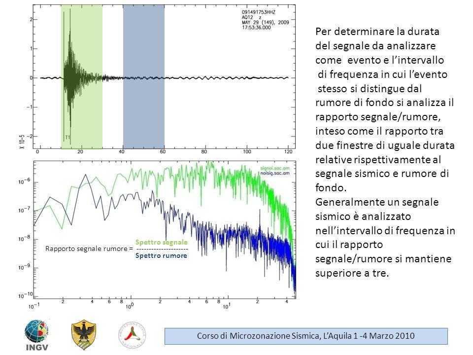 Per determinare la durata del segnale da analizzare come evento e lintervallo di frequenza in cui levento stesso si distingue dal rumore di fondo si a