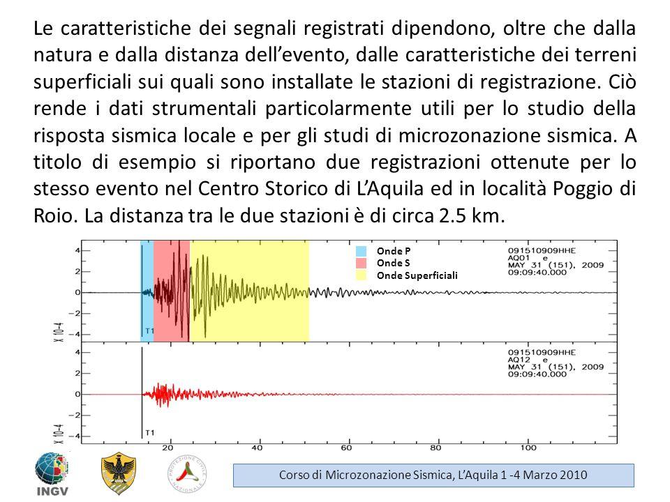 Le caratteristiche dei segnali registrati dipendono, oltre che dalla natura e dalla distanza dellevento, dalle caratteristiche dei terreni superficial