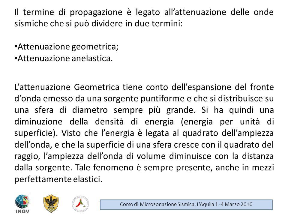 Il termine di propagazione è legato allattenuazione delle onde sismiche che si può dividere in due termini: Attenuazione geometrica; Attenuazione anel