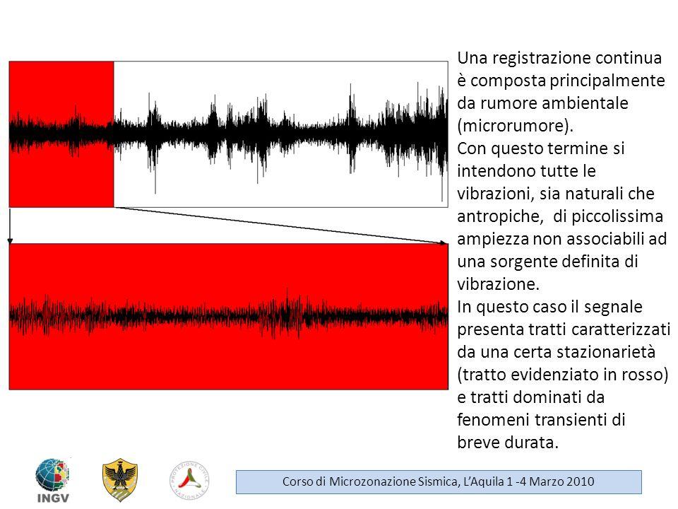 Una registrazione continua è composta principalmente da rumore ambientale (microrumore). Con questo termine si intendono tutte le vibrazioni, sia natu