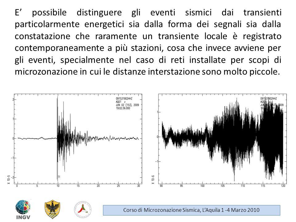 E possibile distinguere gli eventi sismici dai transienti particolarmente energetici sia dalla forma dei segnali sia dalla constatazione che raramente
