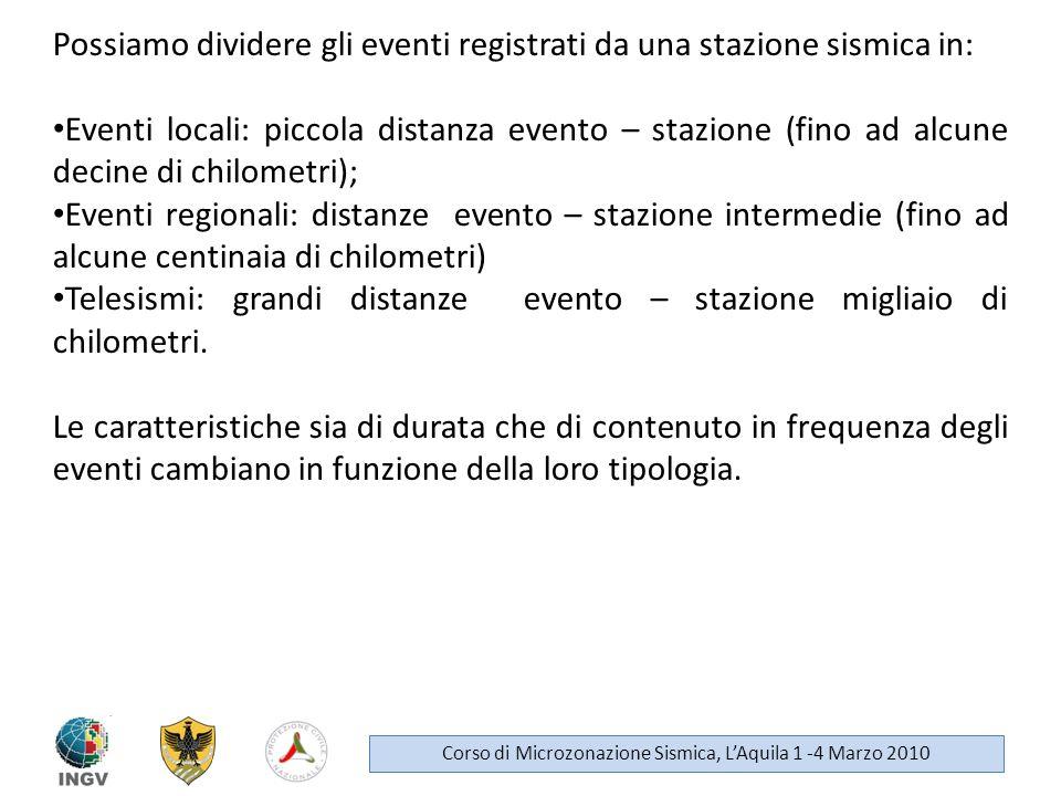 Possiamo dividere gli eventi registrati da una stazione sismica in: Eventi locali: piccola distanza evento – stazione (fino ad alcune decine di chilom