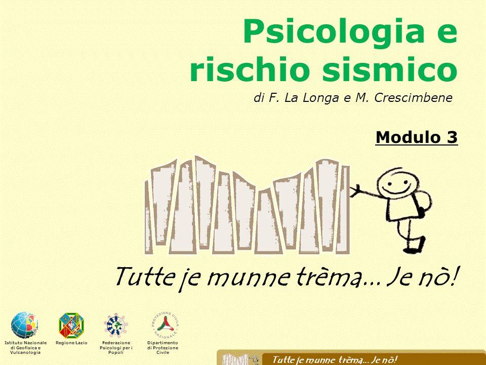 Psicologia e rischio sismico Modulo 3 Tutte je munne trèma... Je nò! Istituto Nazionale di Geofisica e Vulcanologia Regione LazioFederazione Psicologi