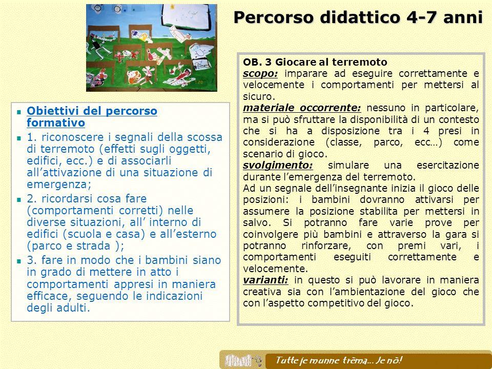 Percorso didattico 4-7 anni Obiettivi del percorso formativo 1. riconoscere i segnali della scossa di terremoto (effetti sugli oggetti, edifici, ecc.)