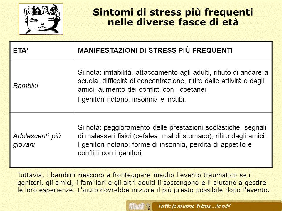 Sintomi di stress più frequenti nelle diverse fasce di età Tuttavia, i bambini riescono a fronteggiare meglio l'evento traumatico se i genitori, gli a