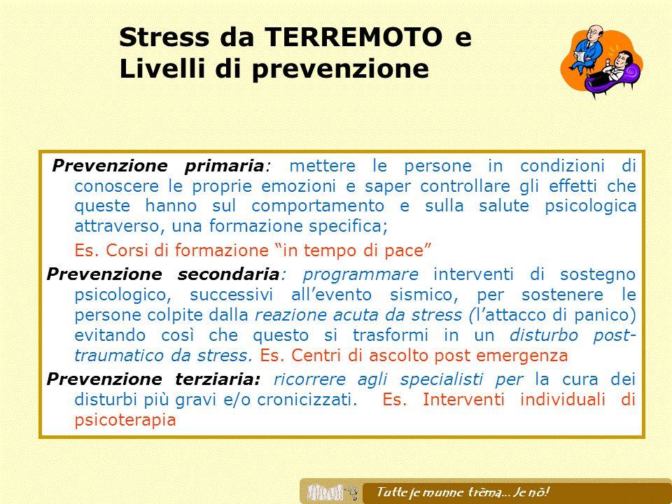 Stress da TERREMOTO e Livelli di prevenzione Prevenzione primaria: mettere le persone in condizioni di conoscere le proprie emozioni e saper controlla