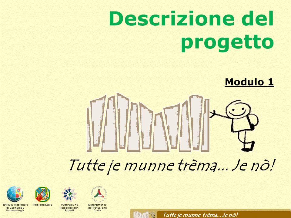 Descrizione del progetto Modulo 1 Tutte je munne trèma... Je nò! Istituto Nazionale di Geofisica e Vulcanologia Regione LazioFederazione Psicologi per