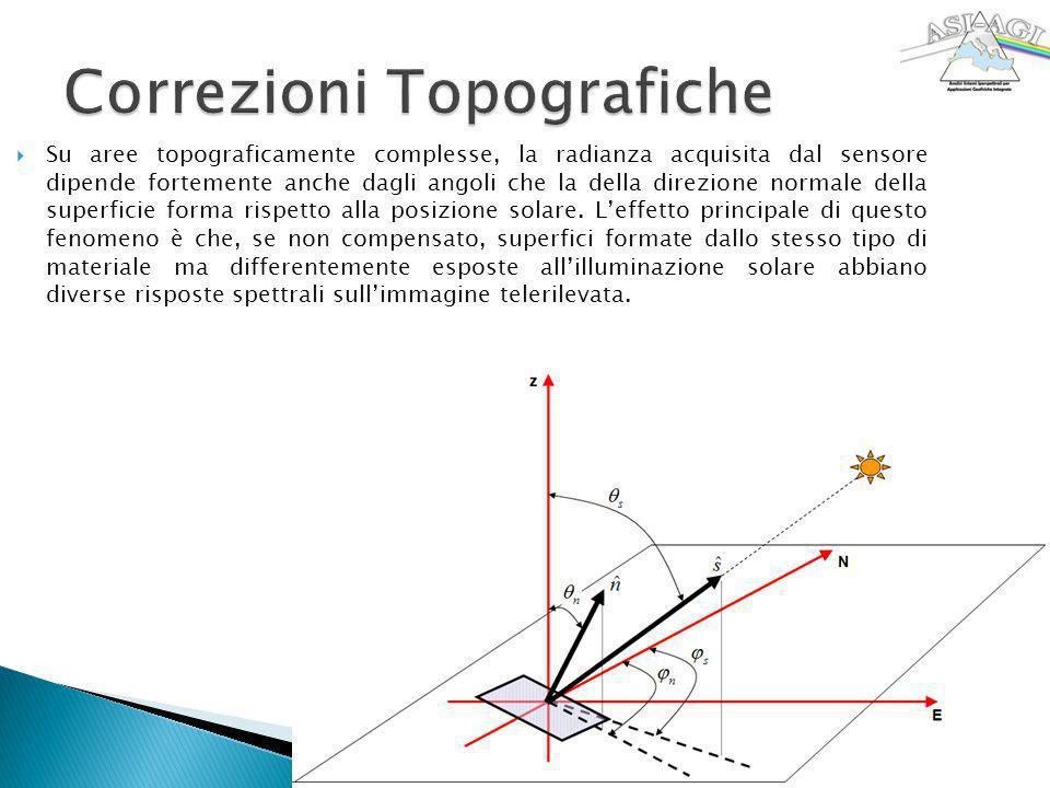 Su aree topograficamente complesse, la radianza acquisita dal sensore dipende fortemente anche dagli angoli che la della direzione normale della super