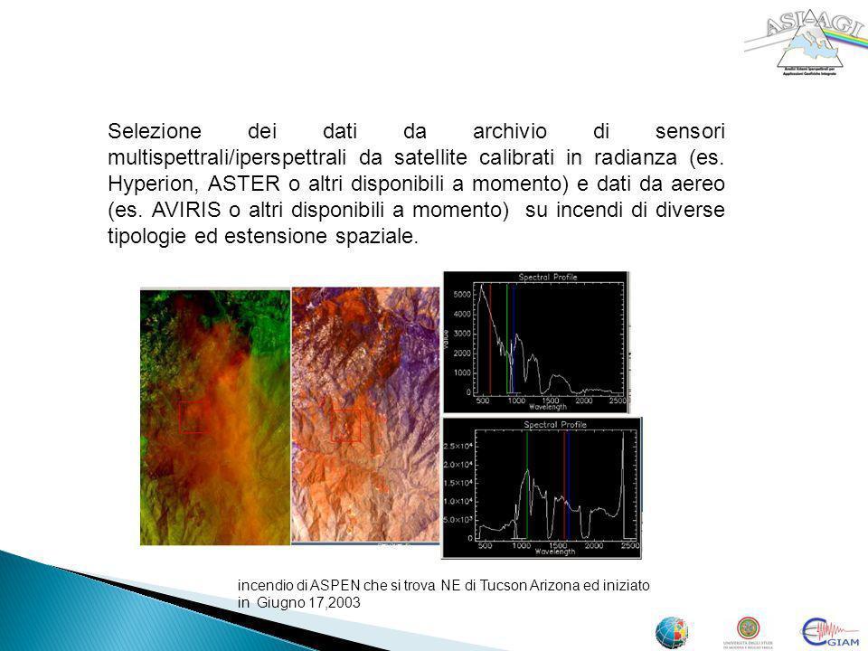 Selezione dei dati da archivio di sensori multispettrali/iperspettrali da satellite calibrati in radianza (es. Hyperion, ASTER o altri disponibili a m