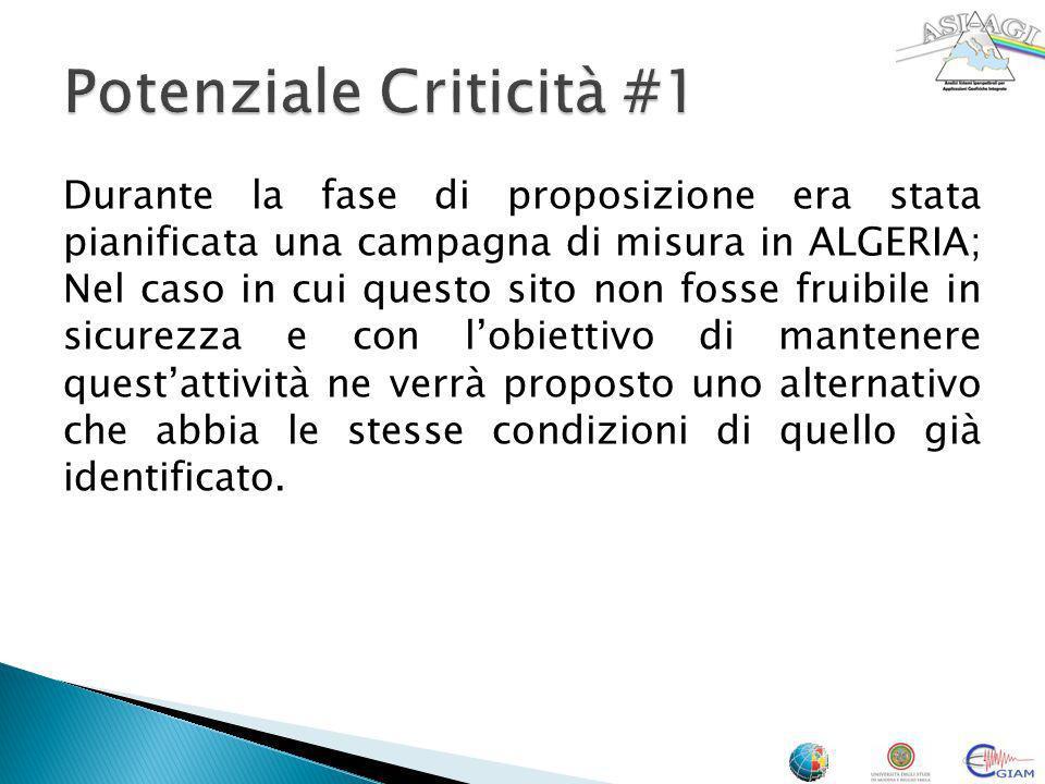 Durante la fase di proposizione era stata pianificata una campagna di misura in ALGERIA; Nel caso in cui questo sito non fosse fruibile in sicurezza e