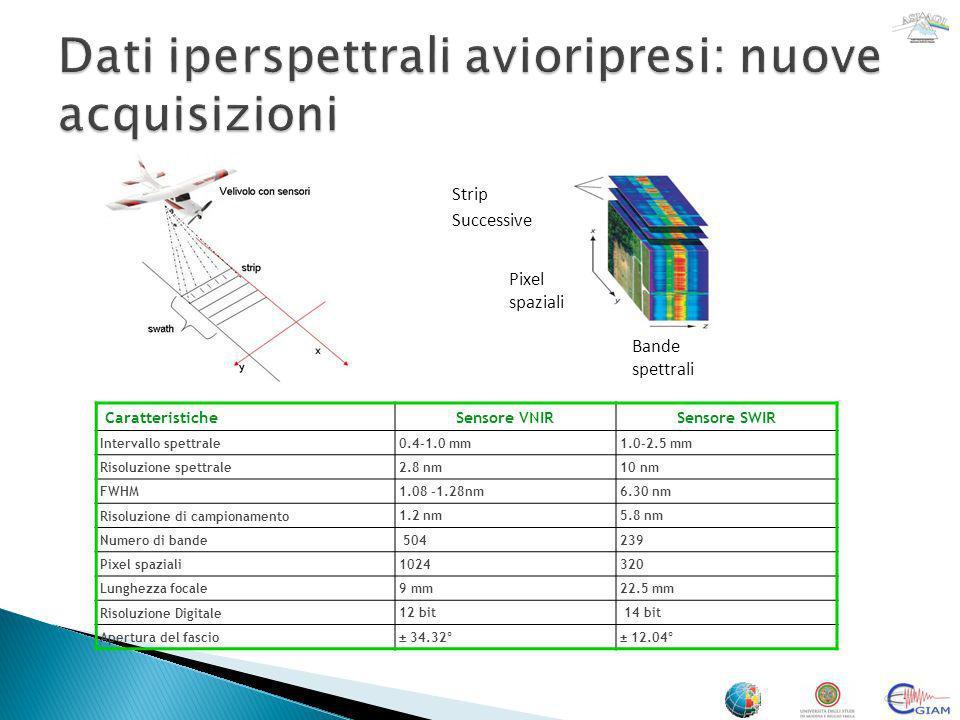 CaratteristicheSensore VNIRSensore SWIR Intervallo spettrale 0.4-1.0 mm1.0-2.5 mm Risoluzione spettrale 2.8 nm10 nm FWHM 1.08 -1.28nm6.30 nm Risoluzio