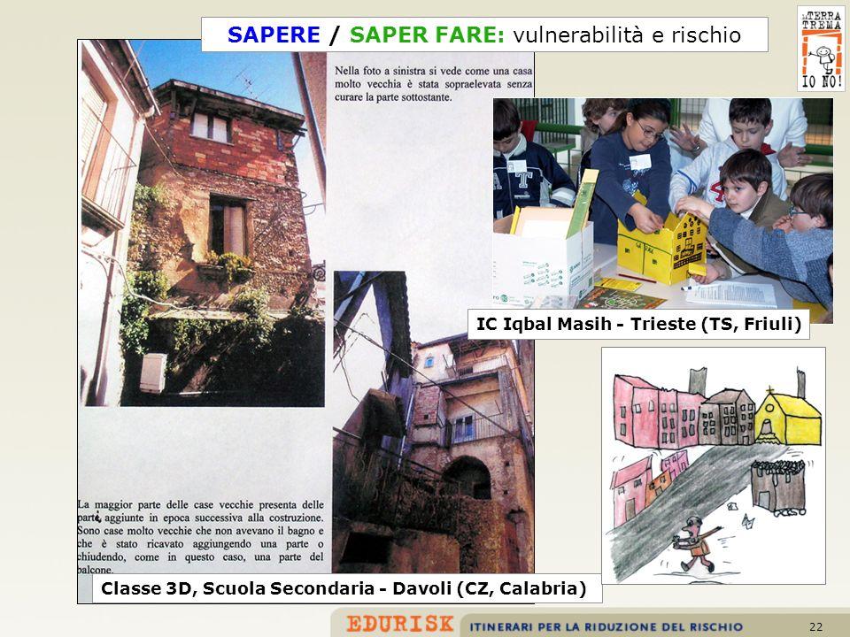 22 IC Iqbal Masih - Trieste (TS, Friuli) Classe 3D, Scuola Secondaria - Davoli (CZ, Calabria) SAPERE / SAPER FARE: vulnerabilità e rischio