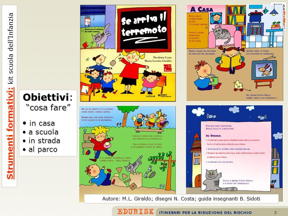 3 Strumenti formativi: kit scuola dellInfanzia Autore: M.L. Giraldo; disegni N. Costa; guida insegnanti B. Sidoti Obiettivi: cosa fare in casa in casa