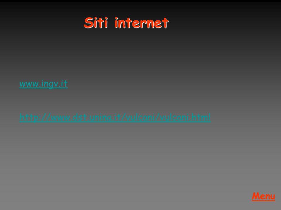 www.ingv.it http://www.dst.unina.it/vulcani/vulcani.html Menu Siti internet