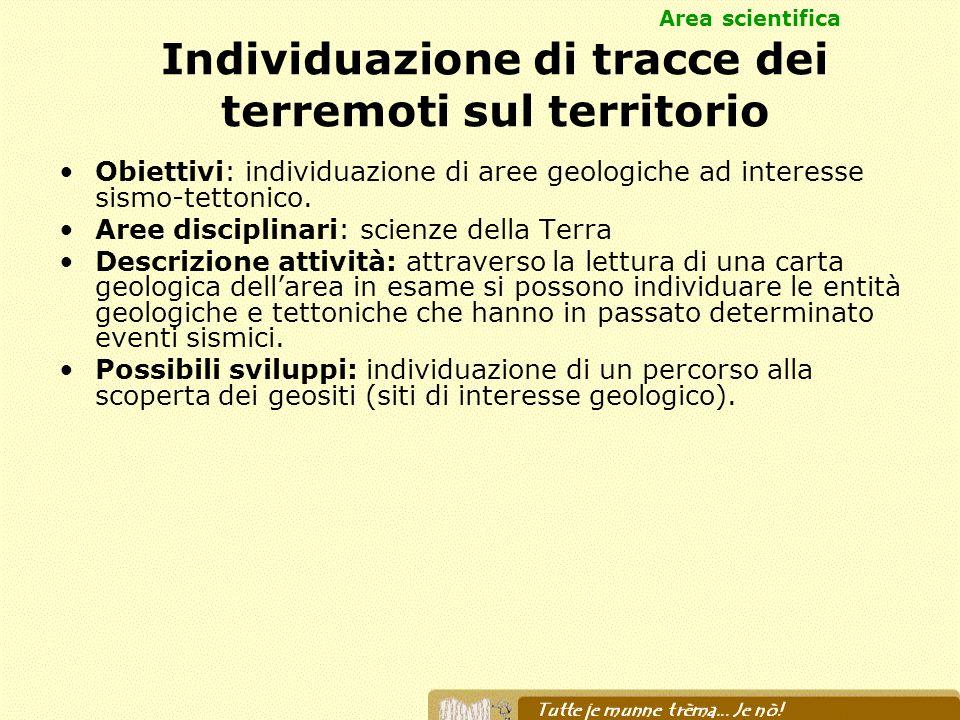 Individuazione di tracce dei terremoti sul territorio Obiettivi: individuazione di aree geologiche ad interesse sismo-tettonico. Aree disciplinari: sc