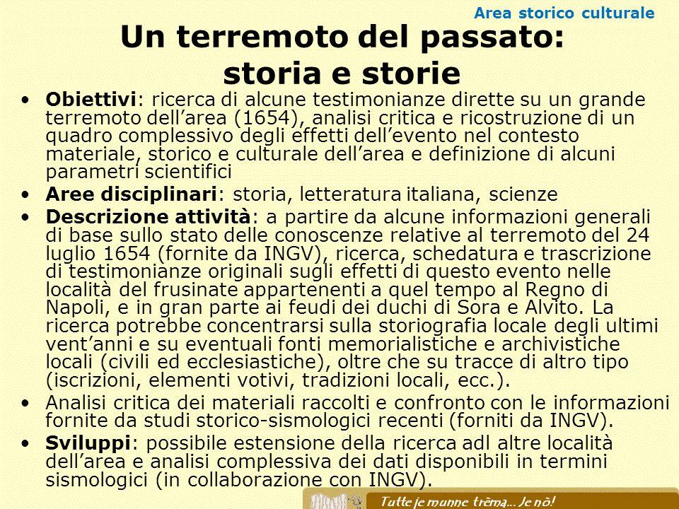 Un terremoto del passato: storia e storie Obiettivi: ricerca di alcune testimonianze dirette su un grande terremoto dellarea (1654), analisi critica e