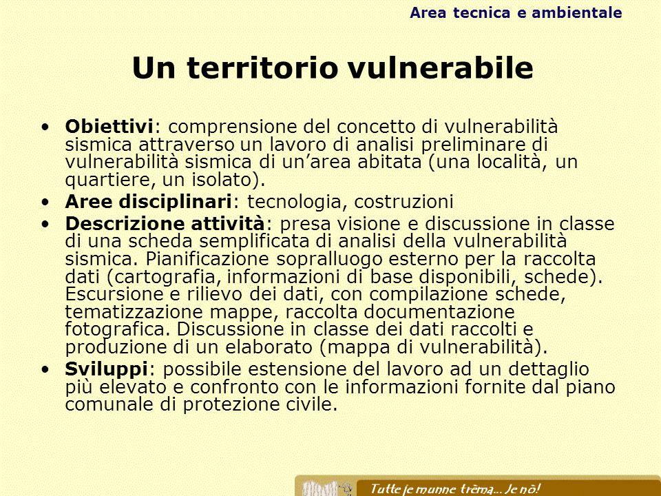 Un territorio vulnerabile Obiettivi: comprensione del concetto di vulnerabilità sismica attraverso un lavoro di analisi preliminare di vulnerabilità s
